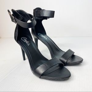 Candie's Open Toe Ankle Strap Heels 8.5